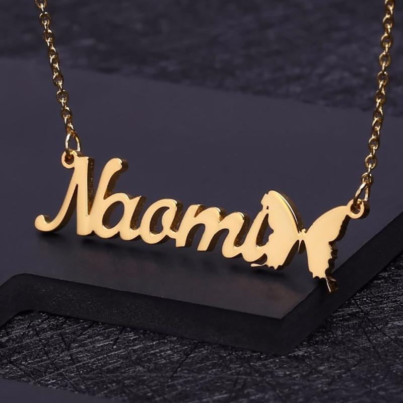 Индивидуальное ожерелье с именем и знаком бабочки, искусственное украшение для подарка на день рождения, золотистый чокер из нержавеющей с...