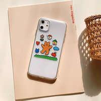 2020 Transparent illustration Fashion Cute Bear Case For iPhone 11Pro 11 11ProMAX 6 6S 7 8 6S Plus 7Plus 8Plus X XS MAX XR X 8