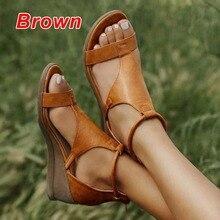 2021 senhoras sandálias de cunha sapatos femininos gladiador verão pu dedo do pé aberto sandálias elásticas femininas casuais verão sandálias femininas