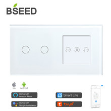 BSEED 2 Gang EU Standard Smart Wifi Touch Switch With Smart Curtain White Crystal Glass Panel Smart Blind Work With Tuya App
