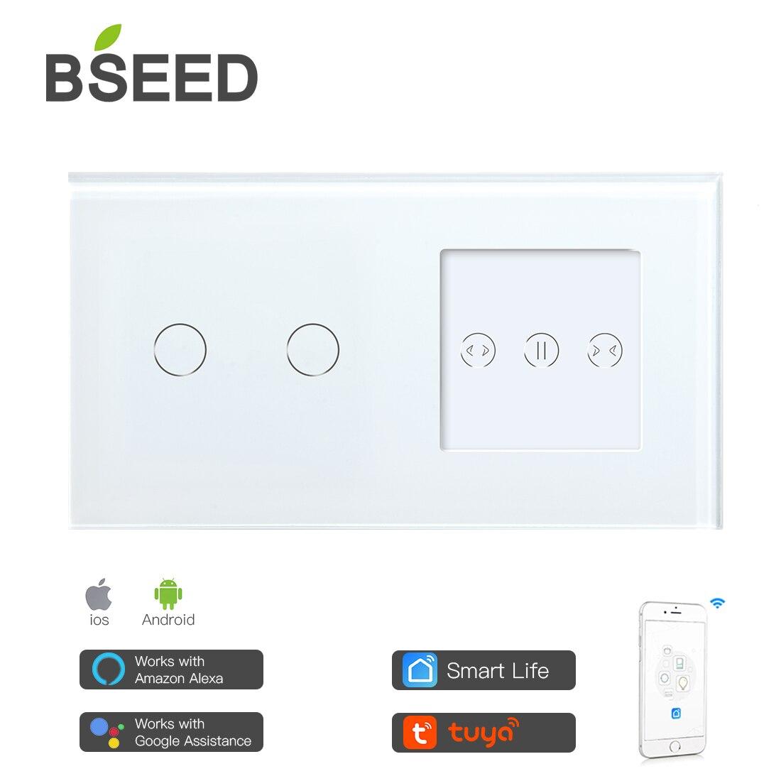 Умный сенсорный выключатель BSEED с 2 клавишами, европейский стандарт, Wi-Fi, умная занавеска с белой прозрачной стеклянной панелью, умная штора, работает с приложением Tuya
