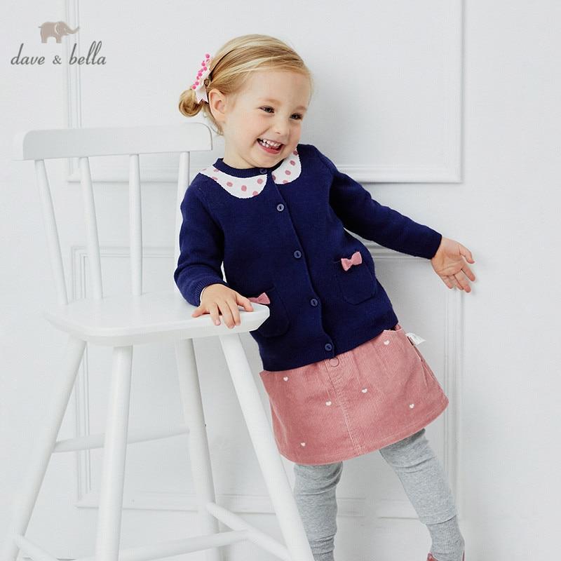 DBW14739 dave bella/Модный зимний Кардиган в горошек с бантом и карманами для маленьких девочек; Детское пальто для малышей; Милый вязаный свитер для детей|Свитера| | АлиЭкспресс
