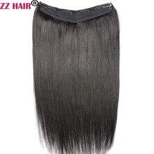 ZZHAIR 100 г-200 г, 16-28 дюймов, V-образные волосы ручной работы для наращивания, набор из 5 зажимов, 100% натуральные волосы, 1 шт.
