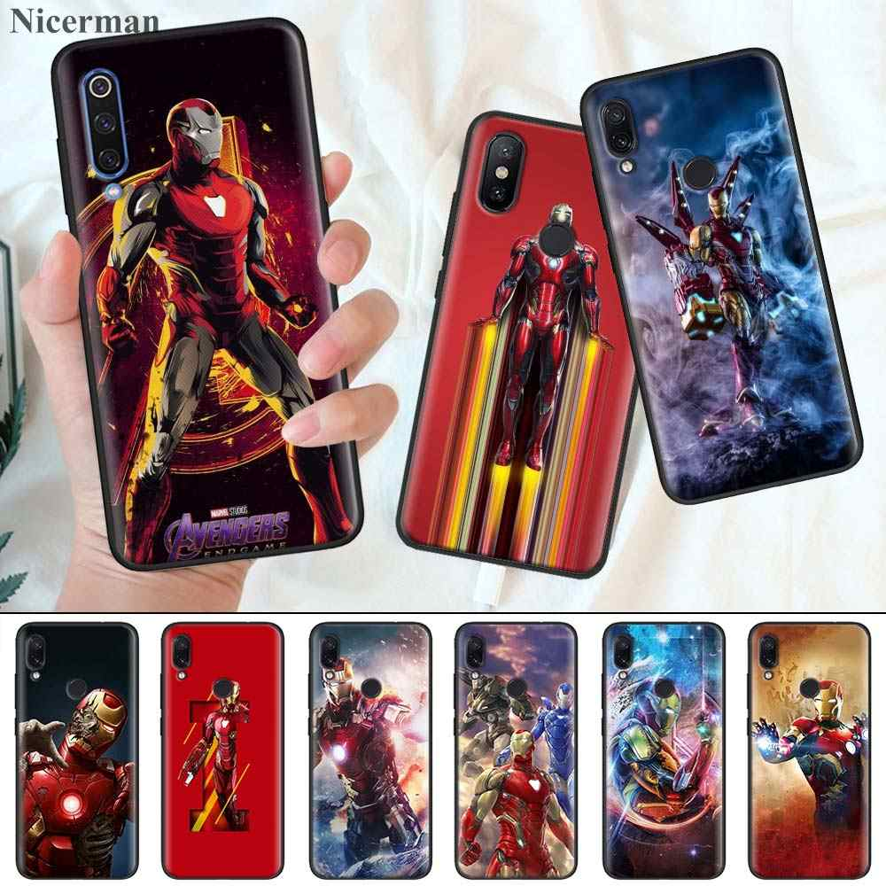 Silicone Case Cover for Redmi Note8 Note8Pro Note8T Phone Back Shell Cover Coque Fundas Capa Marvel Iron Man