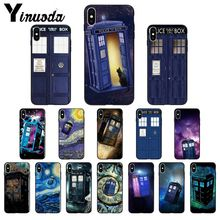 Yinuoda Tardis Doctor Who Police Box TPU Soft black Phone Case Cover for iPhone X XS MAX  6 6s 7 7plus 8 8Plus 5 5S SE XR