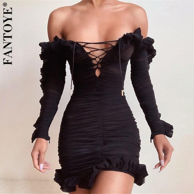 Fantoye Women Ruffle See Through Dress Sexy Off-Shoulder Bandage Bodycon Dress Ladies Strapless Skinny Party Dresses Vestidos