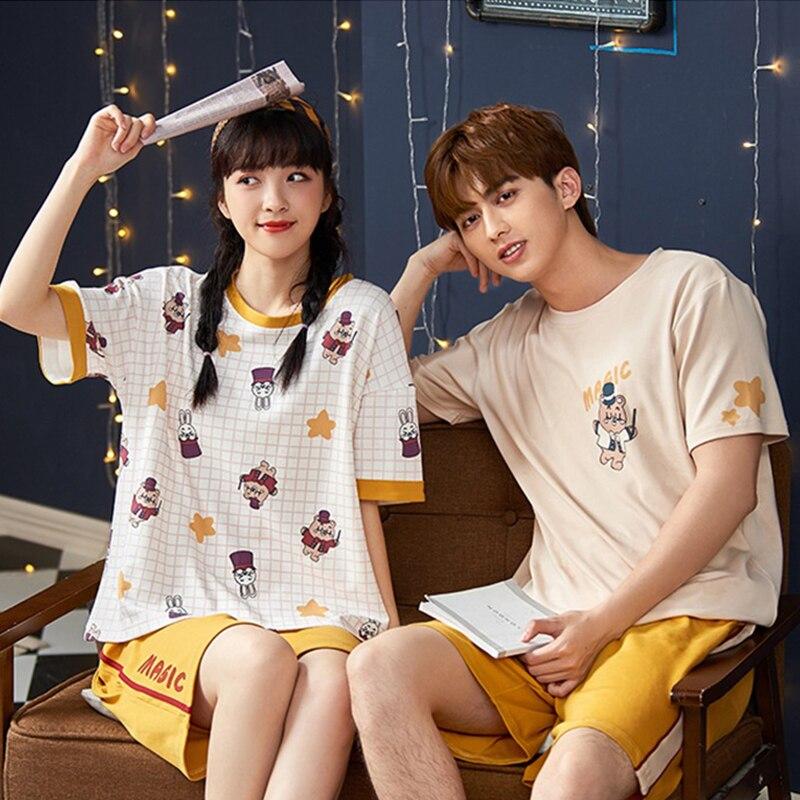 JULY'S SONG Women Men Cotton Pajamas Sets Cute Cartoon Printed Couples Homewear Casual Crew Neck T-Shirt Shorts Nightwear Summer