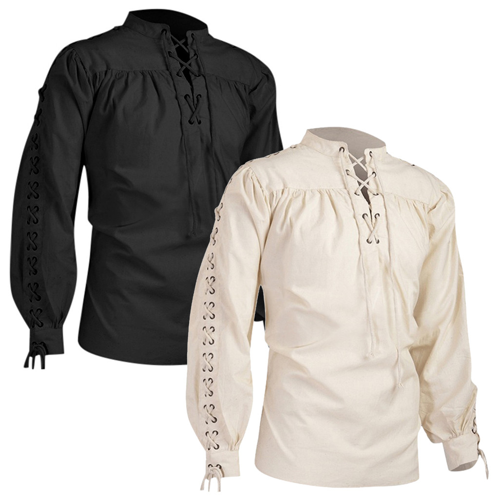 High Quality Fashion Men Bandage Long Sleeve Medieval Shirt Gothic Man Blouse Dropshipping Low Price Discount Woman Man Style