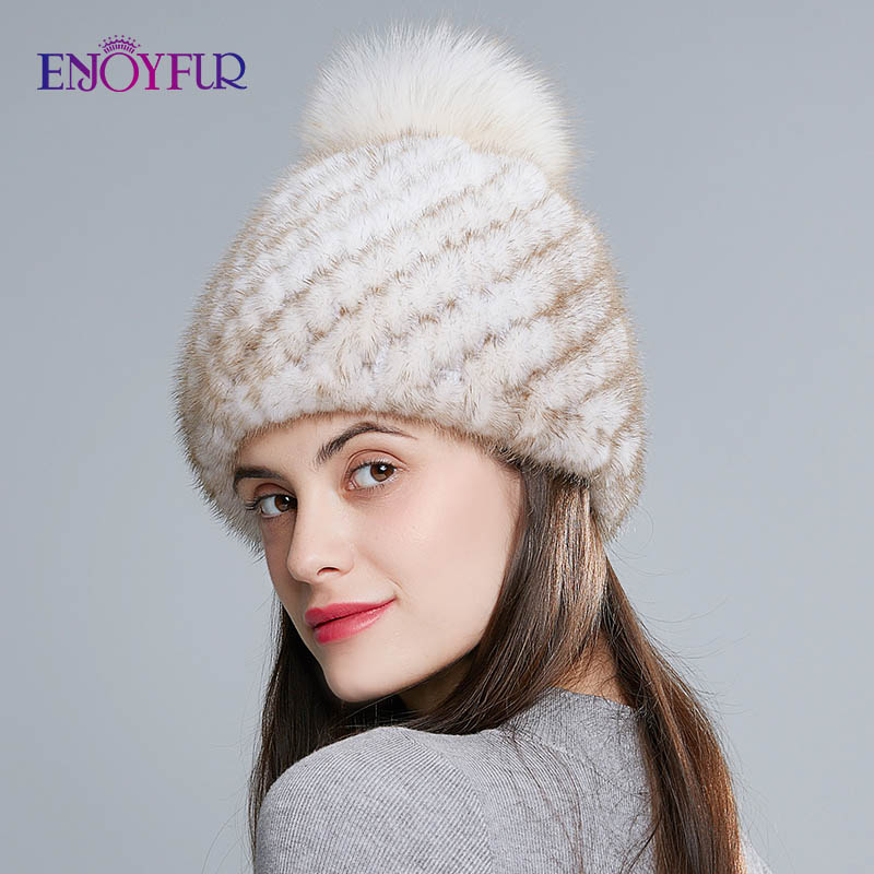 Image 2 - ENJOYFUR hot sale real mink fur hat for women winter knitted mink fur beanies cap with fox fur pom poms new thick  female cap-in Women's Skullies & Beanies from Apparel Accessories