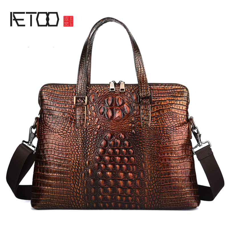BJYL New First Layer Cowhide Crocodile Men's Business Briefcase Handbag Men's Bag Retro Men's Bag