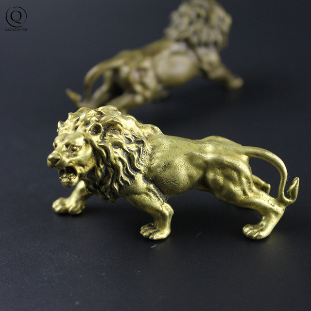 Copper Lion Ornament Miniatures Figurines Desk Office Decoration Display Decor