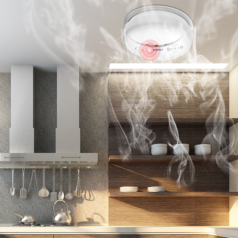 KEIRUI-Detector de humo inalámbrico para el hogar, sistema de alarma de seguridad sensible al fuego, Sensor de humo de 85dB, 5 uds.
