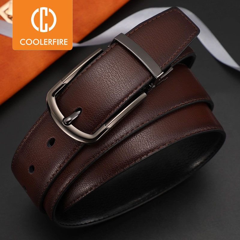 Men Genuine Leather Belt Reversible Buckle Brown and Black Business Dress Belts for Men|Men