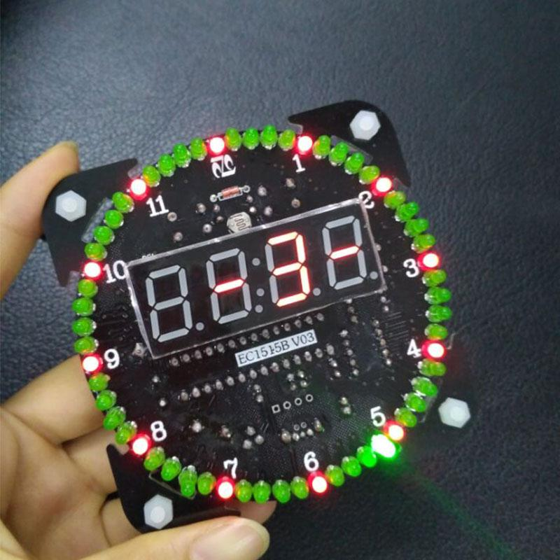 DS1302 Rotating LED Electronic Digital Clock Learning Board Temperature Display DIY Kit 5V New