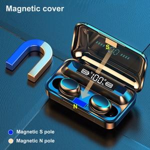 Image 3 - Беспроводные наушники F9 TWS 5,0, сенсорное управление, светодиодный дисплей, шумоподавление, игровая гарнитура с микрофоном, внешний аккумулятор, Bluetooth наушники