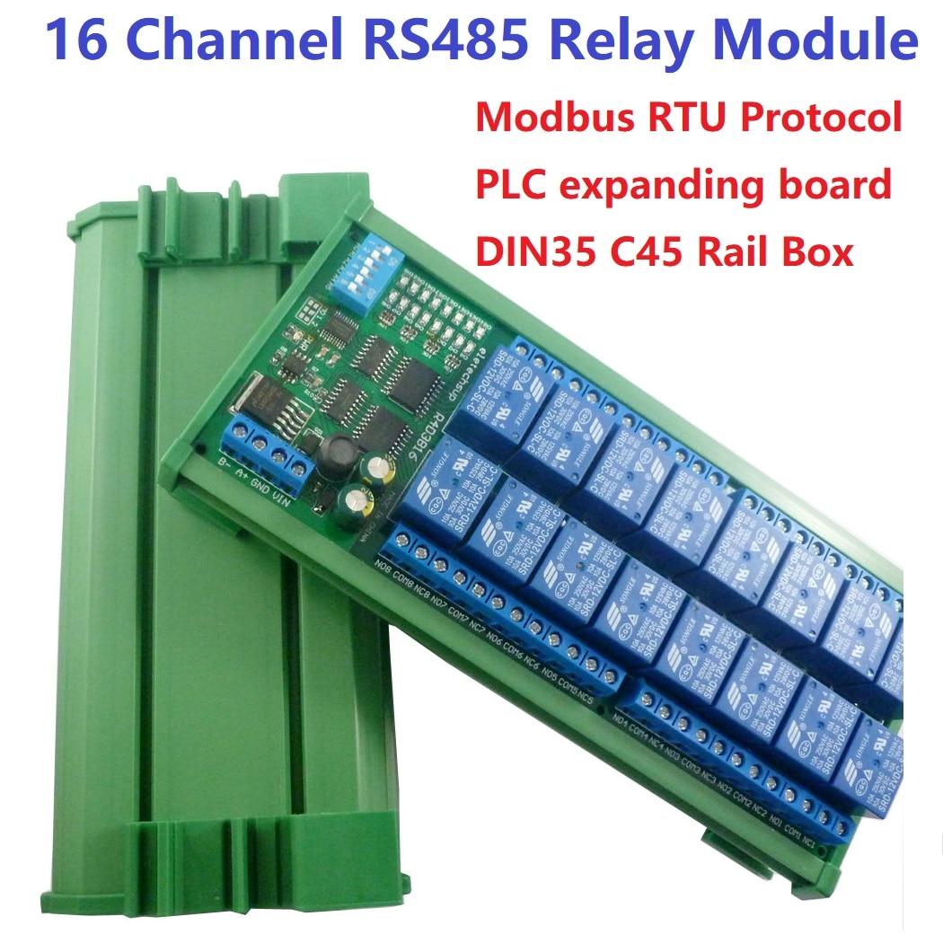 16 канальный 12В 10А din рейка PLC расширение платы RS485 Modbus RTU релейный модуль Интегральные схемы      АлиЭкспресс