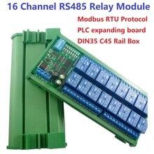 Módulo de relé, 16 canais 12v 10a din rail box plc placa de expansão rs485 modbus rtu