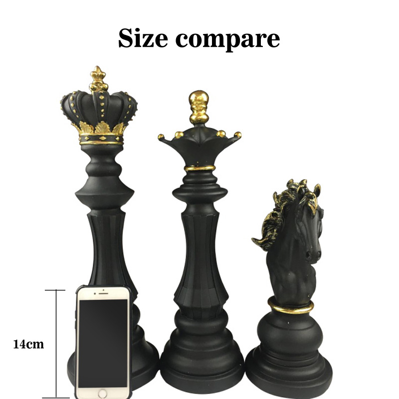 1Pcs Resin Chess Pieces Board Games Accessories International Chess Figurines Retro Home Decor Simple Modern Chessmen Ornaments-1