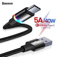 Cable Baseus 5A USB tipo C para Huawei Mate 30 20 P30 P20 P10 Pro Lite 40W cargador de carga rápida USB-C Cable tipo C