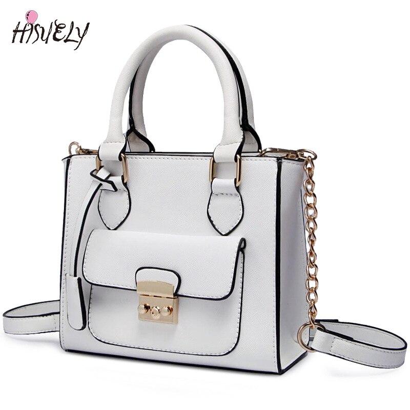HISUELY Hot Sale Candy Color Women PU Leather Bow Handbags Women Shoulder Bags Fashion Bag Female Lady Pink Crossbody Bag