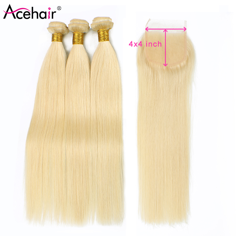 Acehair Bundles With Closure 613 Honey Blonde Indian Straight 10-30 Inch Remy Human Hair Weave Lace Closure With 3 Bundles