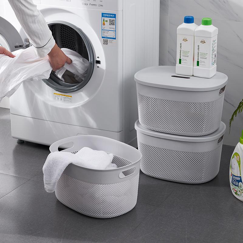 30 Kitchen Bathroom Desktop Storage Basket With Cover Plastic Storage Baskets Bathroom Shower Clothes Make Ups Storage Rack
