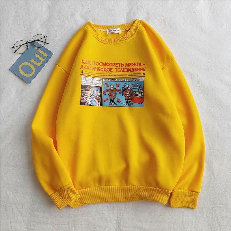 2020 Spring&Autumn Sweatshirts Women Cartoon Letter Print Long Sleeve Bts Kpop Harajuku Women Sweatshirts Clothing Free Shipping