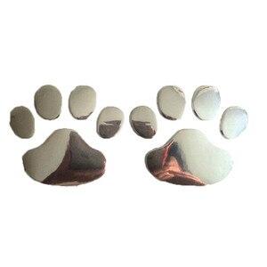 Image 3 - 2 pièces Voiture Autocollant Conception Cool Patte 3D Animal Chien Chat Ours Empreintes Empreinte Autocollant Voiture Autocollants Argent Or Accessoires Auto
