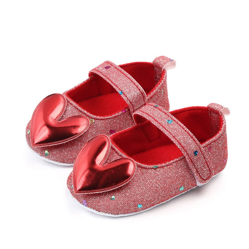 Autumn Baby Girl Anti-Slip Casual Walking Shoes Sequin Heart Design Sneakers Soft Soled First Walkers 2019