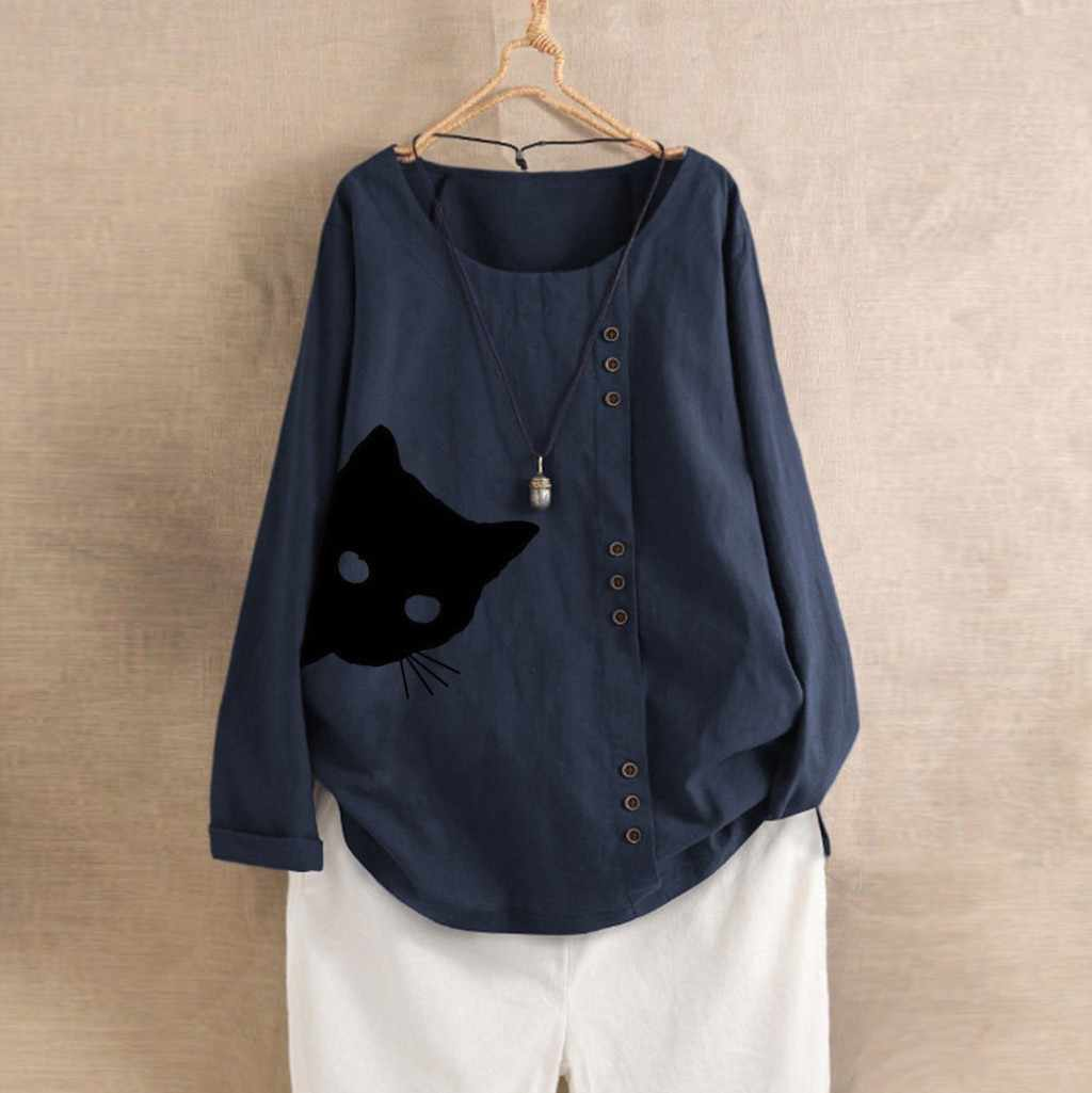 Plus Size Autumn Women T-Shirt Cat Print Cotton Linen Long Sleeve Tee Shirt O-Neck Button Kaftan Baggy Shirt Tee Tops