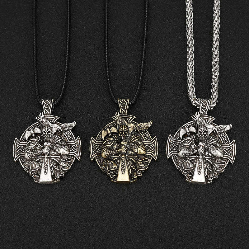 Punk mężczyźni Antique srebrny viking oidn kotwica naszyjnik norse wisiorek amulet krzyż kruk metalowy łańcuch mężczyzna Charms dla Paracord biżuteria