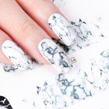 1 sztuk biały czarny Gradient marmuru paznokci naklejka artystyczna woda Transfer naklejka Watermark suwak Manicure pełna Wrap narzędzie Decor JIBN624