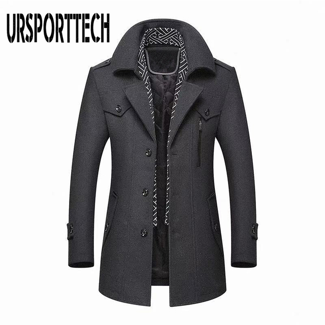 Winter Men's Wool Coat 2020 New Fashion Middle Long Scarf Collar Cotton-padded Thick Warm Woolen Coat Male Trench Coat Overcoat 3