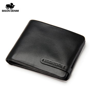 BISON DENIM 100% Genuine Leather Male Wallet Super Soft Card Holder Short Zipper Coin Purse for Men N4329