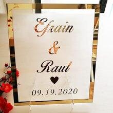 Marco de espejo personalizado para novia y novio, señal de boda, placa de señal acrílica transparente personalizada con decoración para fiesta de uñas, recuerdos