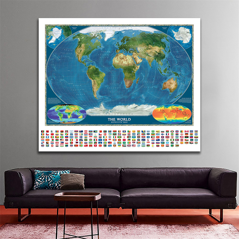 Non Woven World Map Decorative Map 90x90cm Global Satellite Mosaic Map