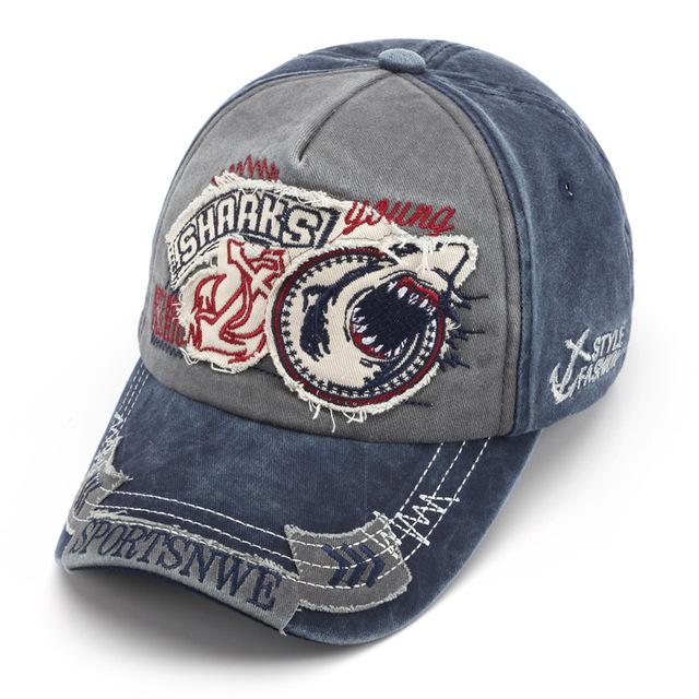 Embroidered Shark Denim Baseball Caps for Men