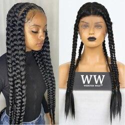 QUINLUX perruques noir/boîte Blonde tressage cheveux pleine perruque de lacet pour les femmes noires fibre de chaleur africaine Crochet tressé perruques cheveux synthétiques