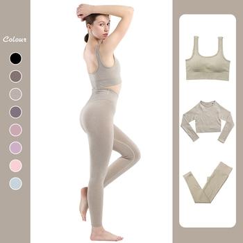 Seamless Leggings Women Gym Clothing Female High Waist Yoga Pants Tracksuit Women Fitness Clothing 2 Piece Set Long Sleeve Top 3