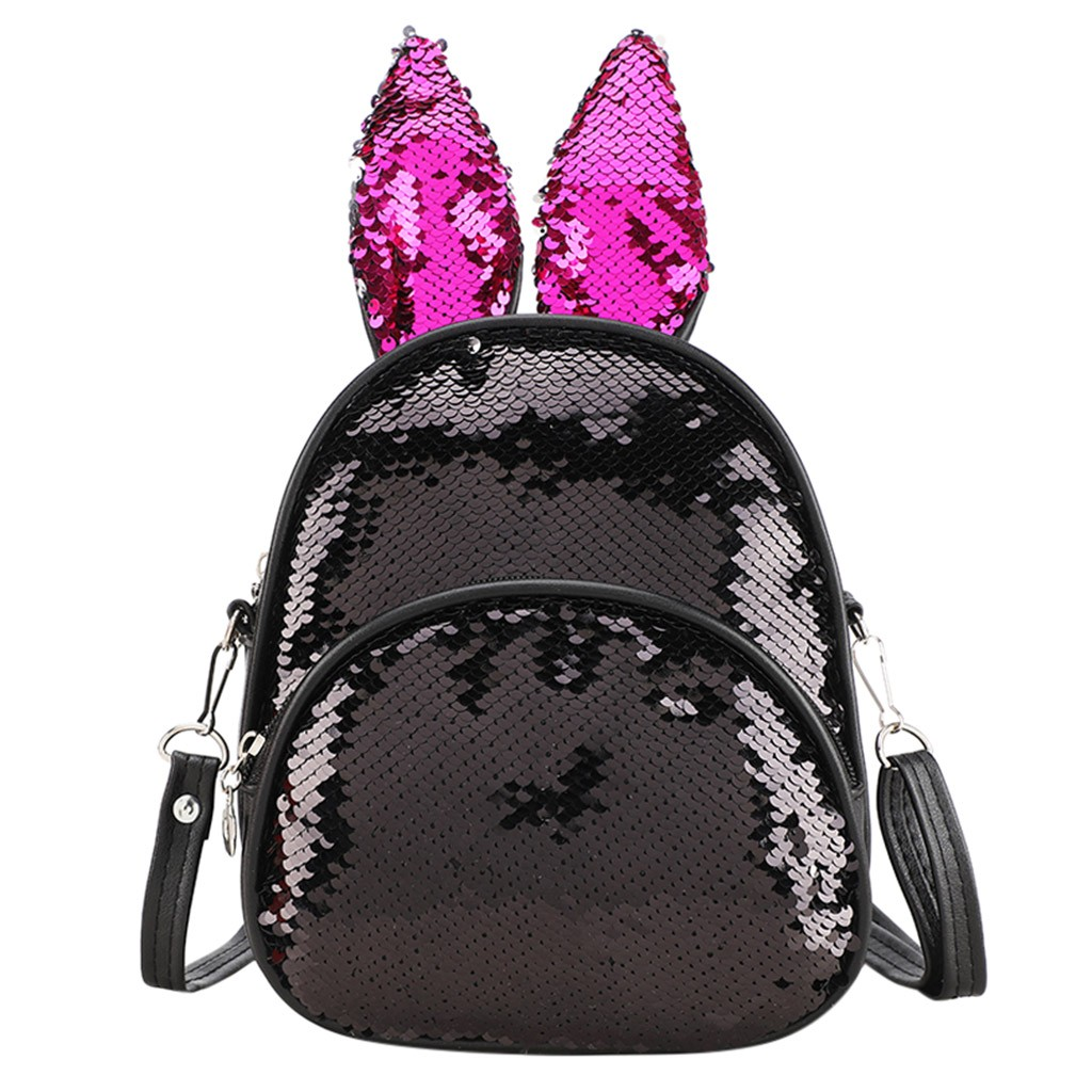 Mini Backpack Women Bag 2019 Fashion Trend Sequins Cute Rabbit Ears Children's Bag Shoulder Bags School Backpack Small Bagpack