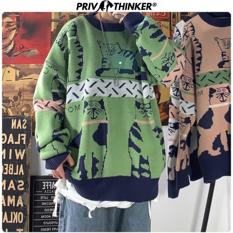 Privathinker Harajuku Männer Pullover 2020 Frühling Mode Gedruckt Mann Beiläufige Gestrickte Pullover Frauen Tragen Lose Pullover Pullover