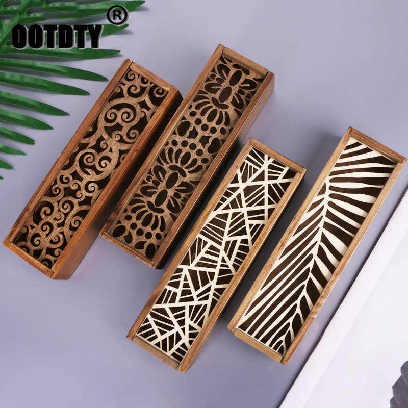Retro Wooden Stationery Case Hollow Out Boxes Desktop Pencil Storage Organizer dropshipping