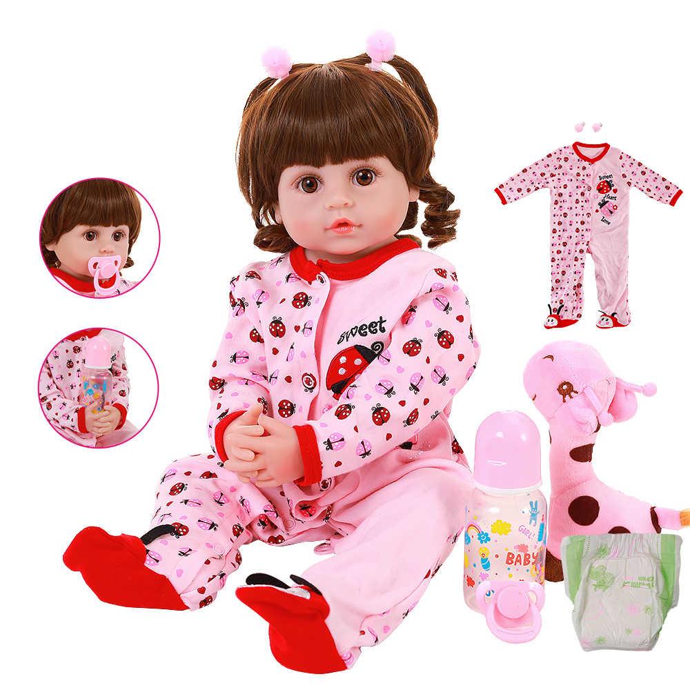 """22 """"Realistic Rebornตุ๊กตาเด็ก 56 ซม.ทารกตุ๊กตาของเล่นยีราฟเจ้าหญิงBonecasน่ารักเหมือนจริงตุ๊กตาCrookedปากของเล่น"""