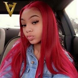 Красный парик, человеческие волосы Remy, бразильский прямой парик на сетке спереди, предварительно выщипанные Детские волосы, красные цветны...