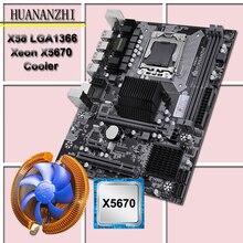 Huanzhi kit CPU carte mère X58, processeur avec processeur refroidisseur de processeur usb 3.0 X58 LGA1366, 2.93GHz, 6 cœurs, 12 threads, nouveau