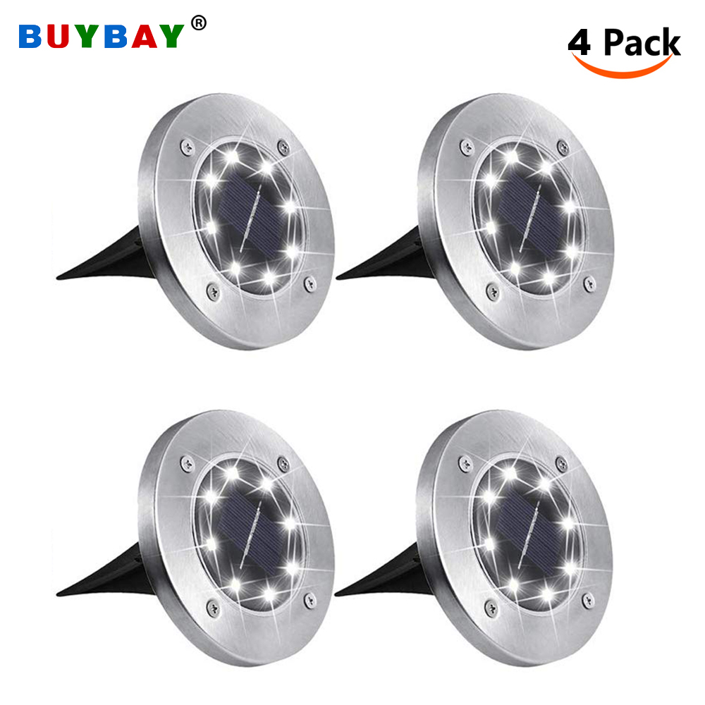 4Pack LED Solar Ground Lights 8/12/16 Leds Garden Light Waterproof Patio Outdoor Light With Light Sensor For Lawn Pathway Yard