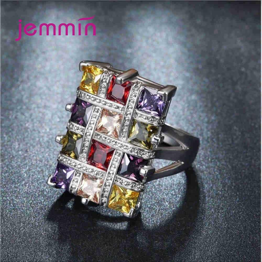 Fashion 925 Sterling Silver Ring for Women Wedding Engagement Lover's Gift Colorful Square Grid Cubic Zirconia Deluxe Jewelry