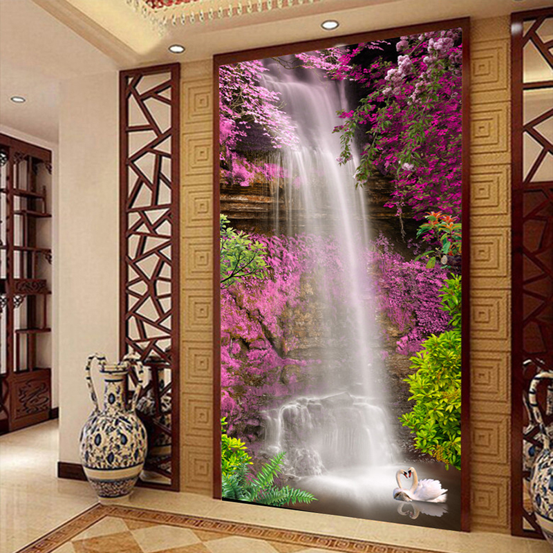 Custom Photo Mural Wallpaper Waterfall Swan Pink Flower Living Room Entrance Hall Wall Painting Home Decor Wall Paper Murals 3D