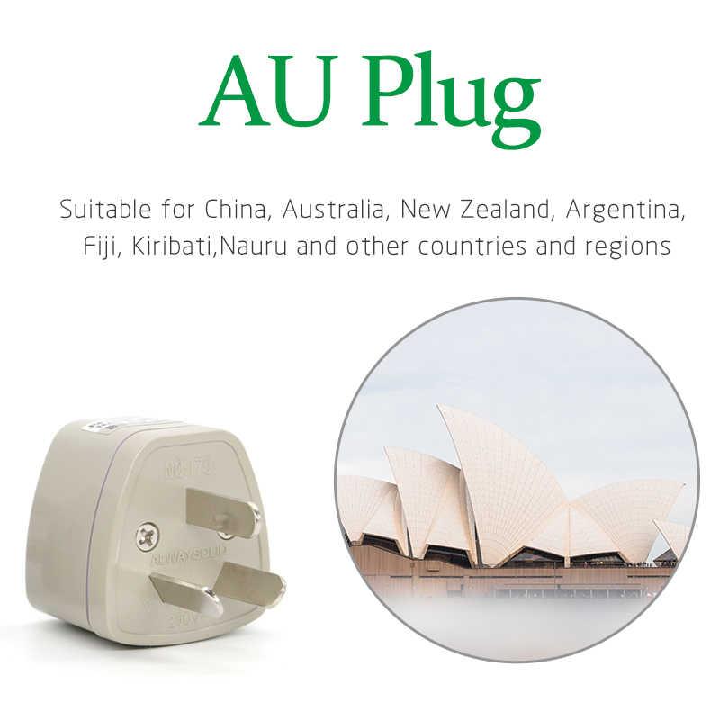 1PC uniwersalny wielka brytania To ue usa do AU wtyczka Adapter podróży zasilania AC konwerter elektryczny 3 płaskie szary szpilki gniazdo przenośne dla podróży