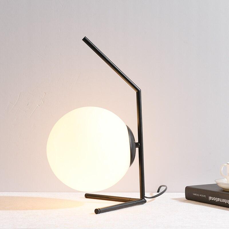 Hardwar Настольная лампа для спальни белый стеклянный абажур украшение для гостиной Абажур Настольная лампа для спальни Lamparas De Mesa Desinger